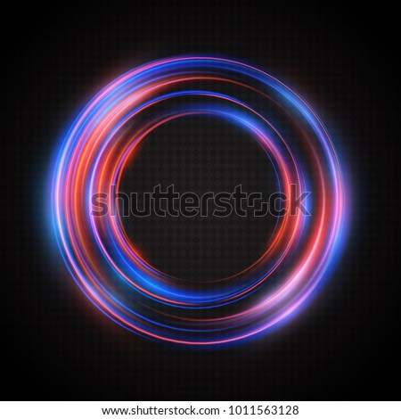 Neon glow rings. A bright, luminous frame from the traces of the flaming rays swirling around in a circle. Transparent light effect. Vector illustration