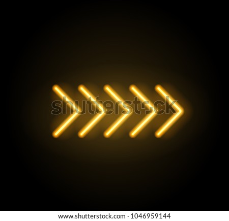 Neon glowing arrow pointer  on dark background. Colorful and shining retro light sign. Vector design element.