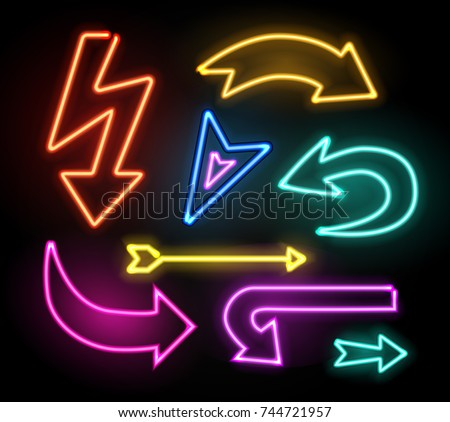 Neon glowing arrow pointer set  on dark background. Colorful and shining retro light sign collection. Vector design elements.