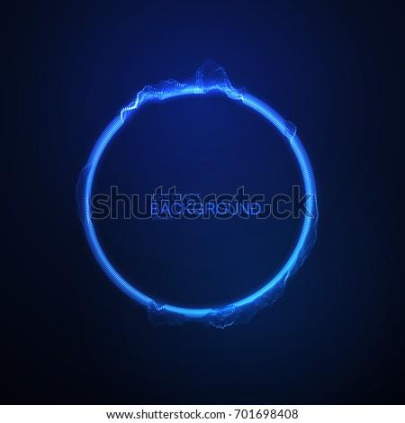 Neon glowing circular shape of particles. Vector technology illustration. Soundwave form. Luminous audio equalizer. Sound impulse visualization. Futuristic HUD element