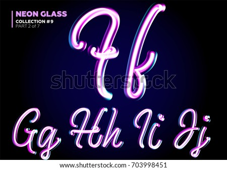 Neon Glowing 3D Typeset. Font Set of Glass Letters. Glossy Pink and Blue Colors. Night Glow Effect. Tube Alphabet. ABC for DJ Poster, Sale Banner, Signboard, Advertising.
