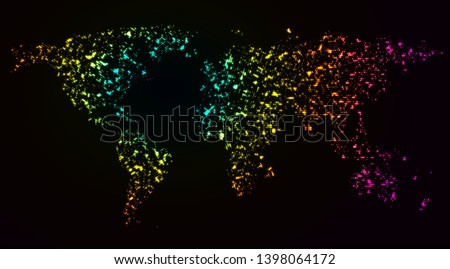 Neon glowing dotted world map for big data visualization and heat map infographics.