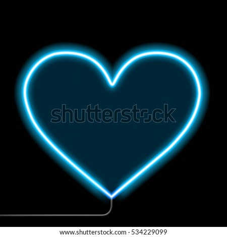 neon glowing heart isolated on