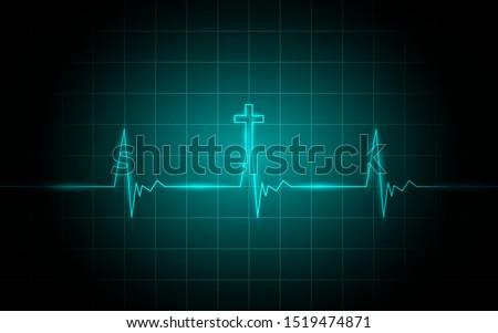 Neon glowing lines, Heartbeat concept, Lifeline background design Stockfoto ©