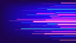 Neon glowing rays speed line technology scince background
