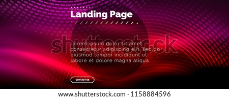 Neon glowing techno lines, hi-tech futuristic abstract background template with circles, landing page template. Vector illustration