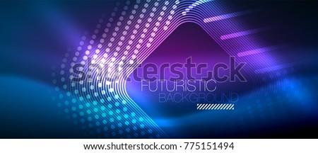 neon glowing techno lines  hi