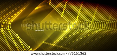 Neon glowing techno lines, yellow hi-tech futuristic abstract background template with square shapes