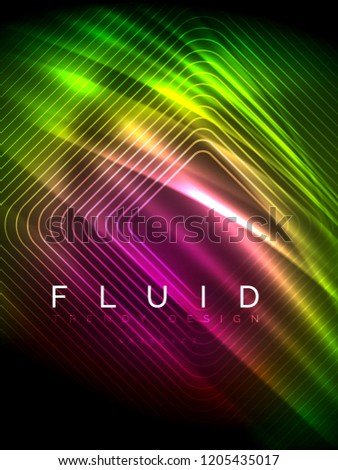 Neon glowing wave, magic energy and light motion background. Vertical orientation