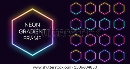 Neon gradient hexagon Frame with copy space. Templates set of Neon gradient hexagonal Border. Expressive, creative and futuristic graphic element, geometric shape for bright design. Fully Vector