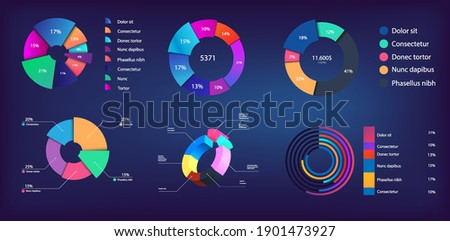 Neon gradient pie chart, infographic collection for reports and presentations, UI, WEB. Mockups circle infochart and Pie charts. 3D, and flat infographics. Modern Pie chart set. Vector illustration