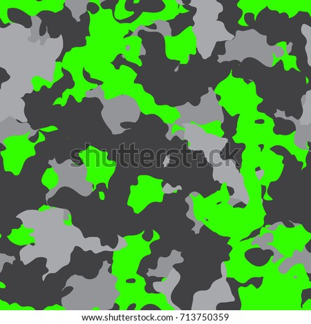 Neon green and gray camouflage is a bright seamless pattern that can be used as a camo print for clothing and background and backdropor computer wallpaper