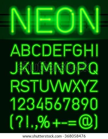 neon green light alphabe neon