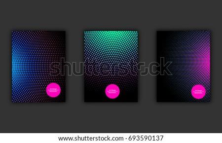 Neon halftone abstract flyer design set, vector illustration. Glowing futuristic pattern, black cover, disco club invitation concept.