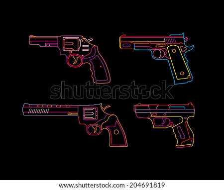 neon handgun sign pistols and