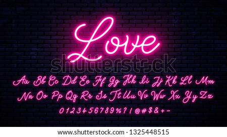 Neon handwritten font with numbers and symbols. Glowing red letters and symbols set isolated on wall background. Modern vector neon font.