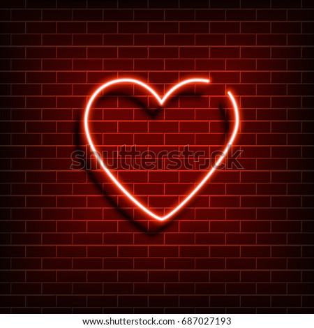 neon heart a bright red sign