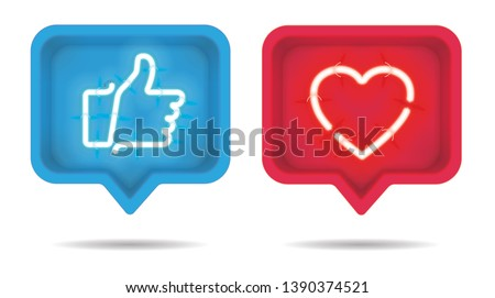Neon heart and thumb up with on and off tubes in 3D speech bubble, vector illustration
