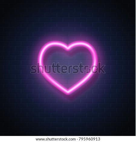 neon heart sign vector glowing