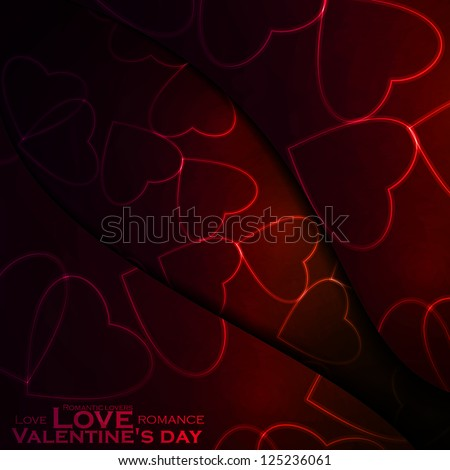 Neon hearts, abstract background, futuristic vector illustration - editable eps10.