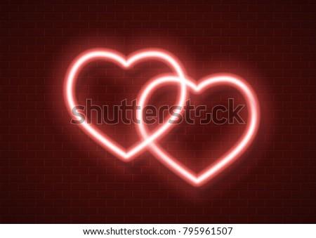 neon hearts sign vector