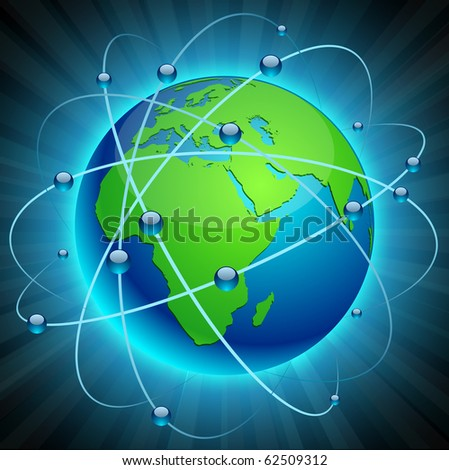 Neon high-detailed Communication Earth. Vector.