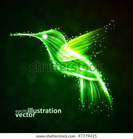 Neon hummingbird, abstract lights vector backgrounds eps10