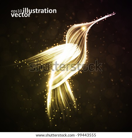 Neon hummingbird, abstract lights vector backgrounds eps10 - stock vector