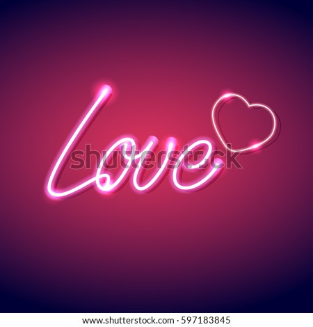neon icon love vector