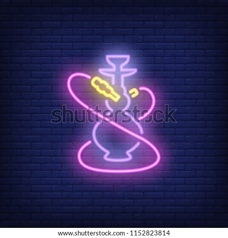 neon icon of hookah with two