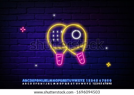 neon icon with racket and ball