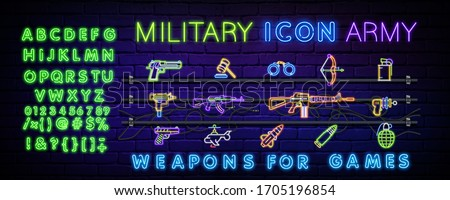 neon icons are set on military