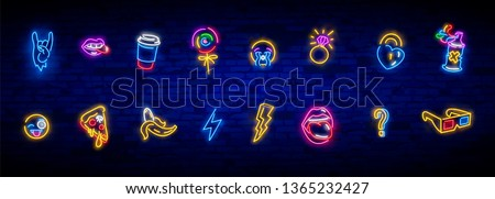 Neon icons set in 80s-90s pop art comic style. Patch badges and pins with cartoon characters, food and things. Vector crazy neon doodles pop art
