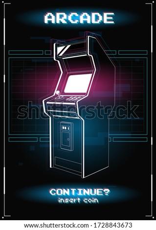 neon illustration of arcade
