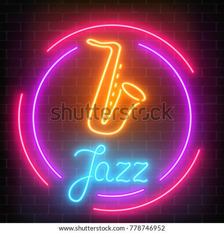 Neon jazz cafe with saxophone glowing sign with round frame on a dark brick wall background. Glowing street signboard of bar with karaoke and blues singers. Vector illustration.