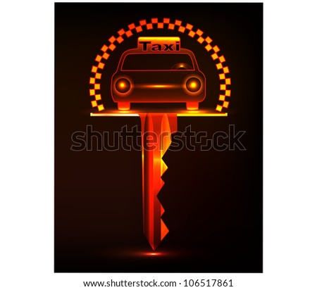Neon Key Taxi.Vector