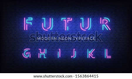 Neon light alphabet font. Glowing neon illuminated 3d modern typeface. Letters g, h, i, j, k, l Stock fotó ©