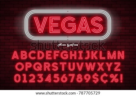 neon light alphabet  realistic