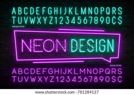 Neon light alphabet, realistic extra glowing font. 2 in 1. Exclusive swatch color control.