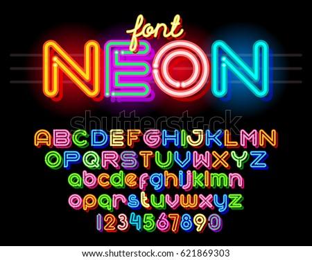 Neon Light Alphabet Vector Font. Neon tube letters on dark glow red background