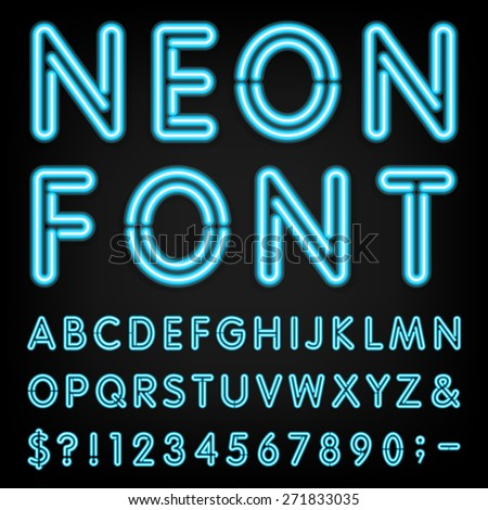 Neon Light Alphabet Vector Font. Type letters, numbers and punctuation marks. Neon tube letters on dark background
