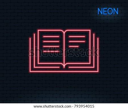 neon light book line icon