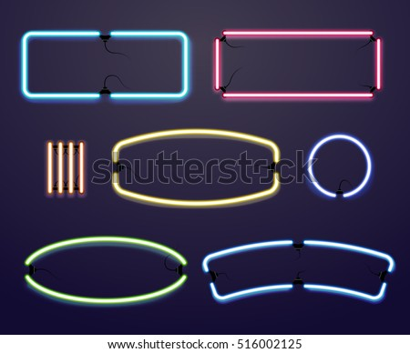 Neon light borders. Vector illuminated frames, bright line for advertising illustration