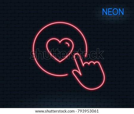neon light click like line