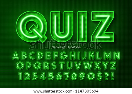 neon light 3d alphabet  extra