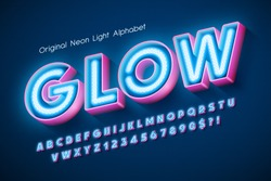 Neon light 3d alphabet, extra glowing modern type. Swatch color control. 13 degree skew