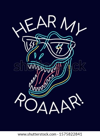 Neon light dinosaur illustration . Vector graphics for t-shirt prints and other uses.