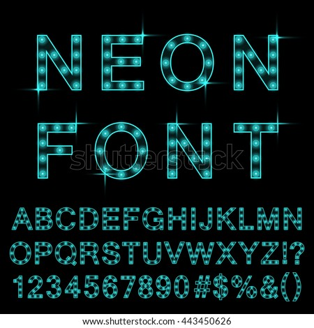 Neon light font cyan color. Glowing alphabet isolated and transparent. Vector.