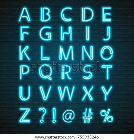 Neon Light Glowing Alphabet with Microphone Symbol Illustration