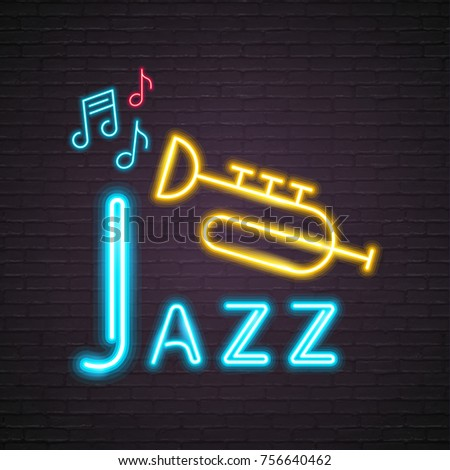 Neon Light Glowing Jazz Music with Trumpet Symbol Music Note Icon Graphic Vector Illustration Design